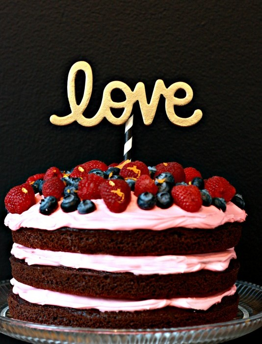 Chocolate Berry Cream Cake with DIY Cake Topper