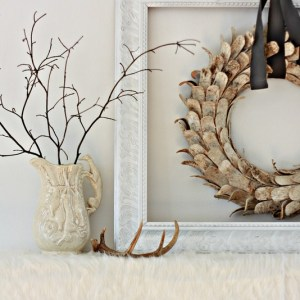 Winterscape Mantel with a Birch Wood Wreath