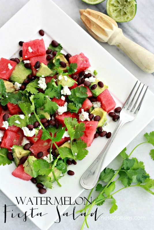 Craving light & healthy salads  Try this Watermelon Fiesta Salad!  It's Summer on a plate.