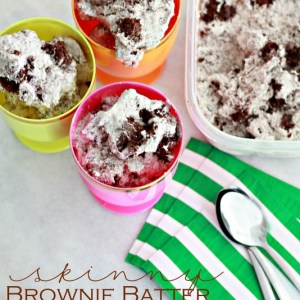 Only 4 ingredients, no churn, skinny Brownie Batter Ice Cream