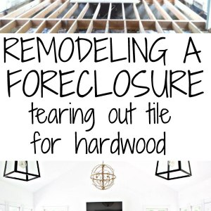 Remolding a foreclosure.  Tearing out tile for hardwood - there's a video to watch as welll!