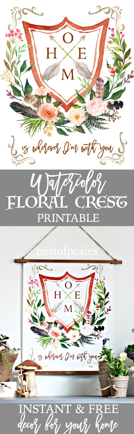Watercolor Floral Crest Printable. Instant and free decor for your home