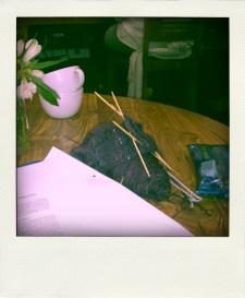 Hidden Cafe Knitting & uni work