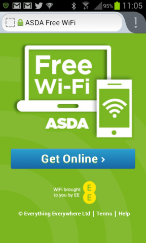 Free wifi at Asda