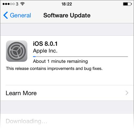 iOS 8.0.1 downloading