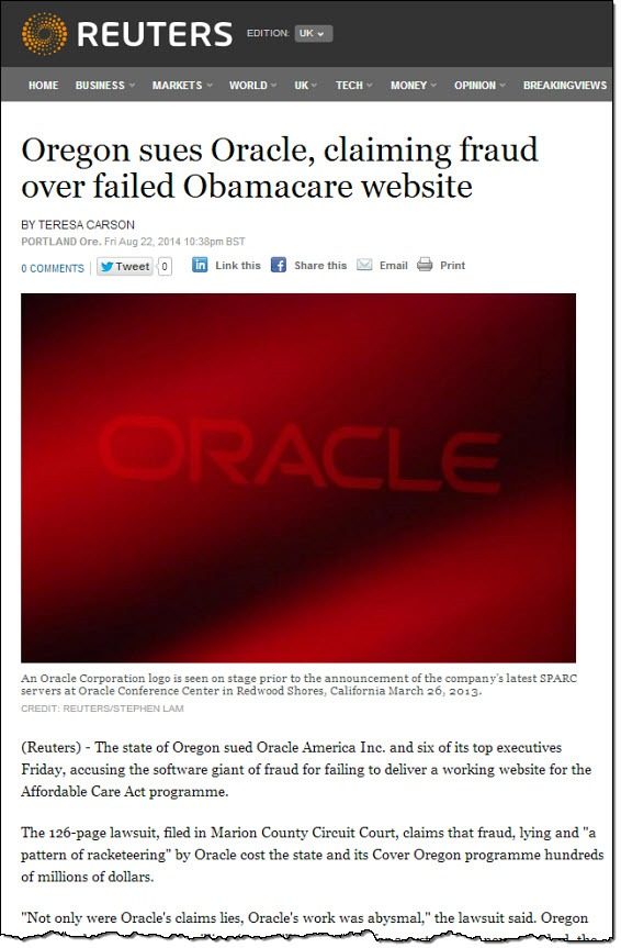 (Reuters) Oregon sues Oracle...