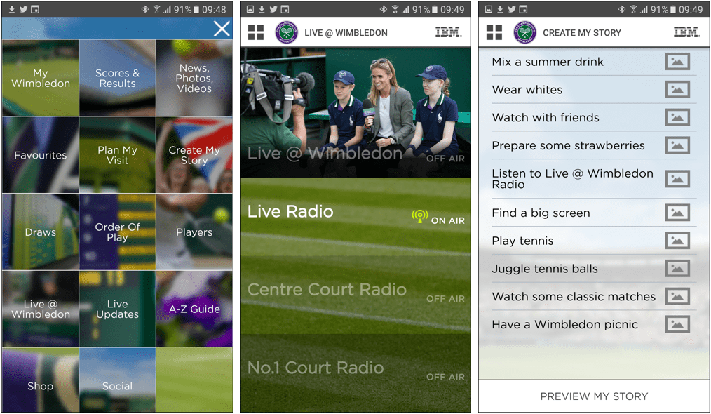 Wimbledon mobile app screenshots