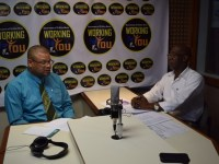SKNIS Photo: (L-R) Host Lesroy Williams and Vincent Fough, Consumer Affairs Officer