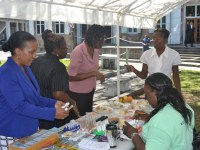 (Left) Permanent Secretary in the Ministry of Health Nicole-Slack Liburd observing the activity at a booth manned by (extreme left) Vernice Blackett, nutritionist at the Alexandra Hospital during the Nevis Health Promotion Unit's free health screening activity on April 07, 2016, at the War Memorial in Charlestown in observance of World Health Day