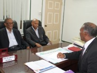 Premier of Nevis Hon. Vance Amory meeting with (l-r) Permanent Secretary in the Ministry of National Security Mr. Osmond Petty and Mr. Neals J. Chitan, International Social Skills Consultant and Motivational Speaker and at his office at Bath Plain on June 08, 2016