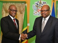 St. Kitts' new High Court Judge, Trevor M. Ward Q.C. (left) and Governor General, His Excellency Sir Tapley Seaton (right)