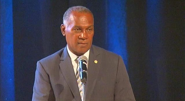 Premier of Nevis and Minister of Finance Hon. Vance Amory delivering an address at the at the 10th annual Consultation on the Economy hosted by the Ministry of Finance, at the Nevis Performing Arts Centre on September 22, 2016
