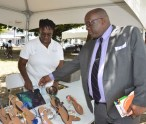Prime Minister of St. Kitts and Nevis, Dr the Hon Timothy Harris, seen at Ms Joan Hamilton's stand at the Development Bank of St. Kitts and Nevis Business Fair