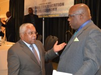 SKNIS Photo: Prime Minister Harris greets Cuban Ambassador His Excellency Hugo Ruiz Cabrera at National Consultation on the Economy