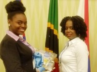 St. Kitts Junior Minister Dahneira Hodge (left) and her teacher Eisha Williams of the Washington Archibald High School.