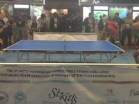 Minister Grant playing against Mr. Goldstein during the FCCA Foundation Table Top Tennis Challenge.
