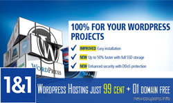 1&1 WordPress Hosting 99 cent, 01 domain free