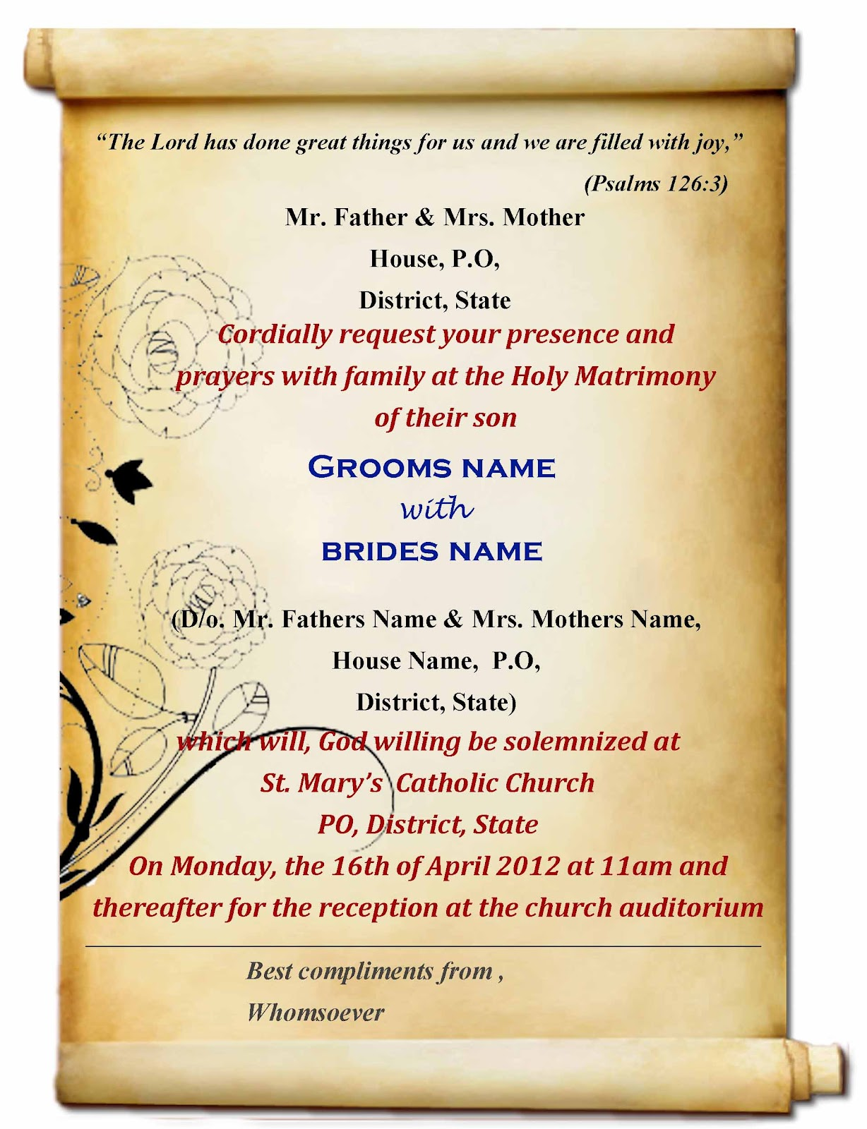 wedding invitation card format kerala wedding card invitation Wedding Invitation Format Kerala Inspiring Card