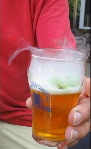 Pictured above is liquid nitrogen hop infused beer. Is it Halloween yet?