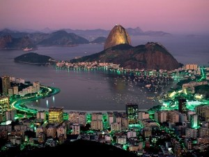 A view of Sugar Loaf and Guanabara Bay at Night in Rio de Janeiro, Brazil