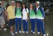 Sandro Marino with Brazilian Olympic Rowing Team at the GIG Airport