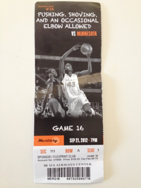 Phoenix Mercury - WNBA Basketball -Ticket for US Airways Center