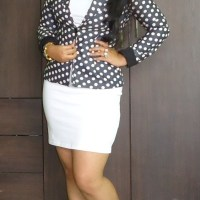 OOTD: Little White Dress, Polka Dots Blazer