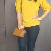 OOTD: Zovi Mustard Yellow Top with Gold Accessories