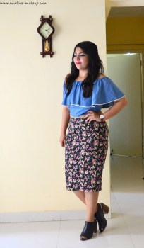 OOTD: Denim Blue Off Shoulder Crop Top, Floral Pencil Skirt, Outfit of the Day