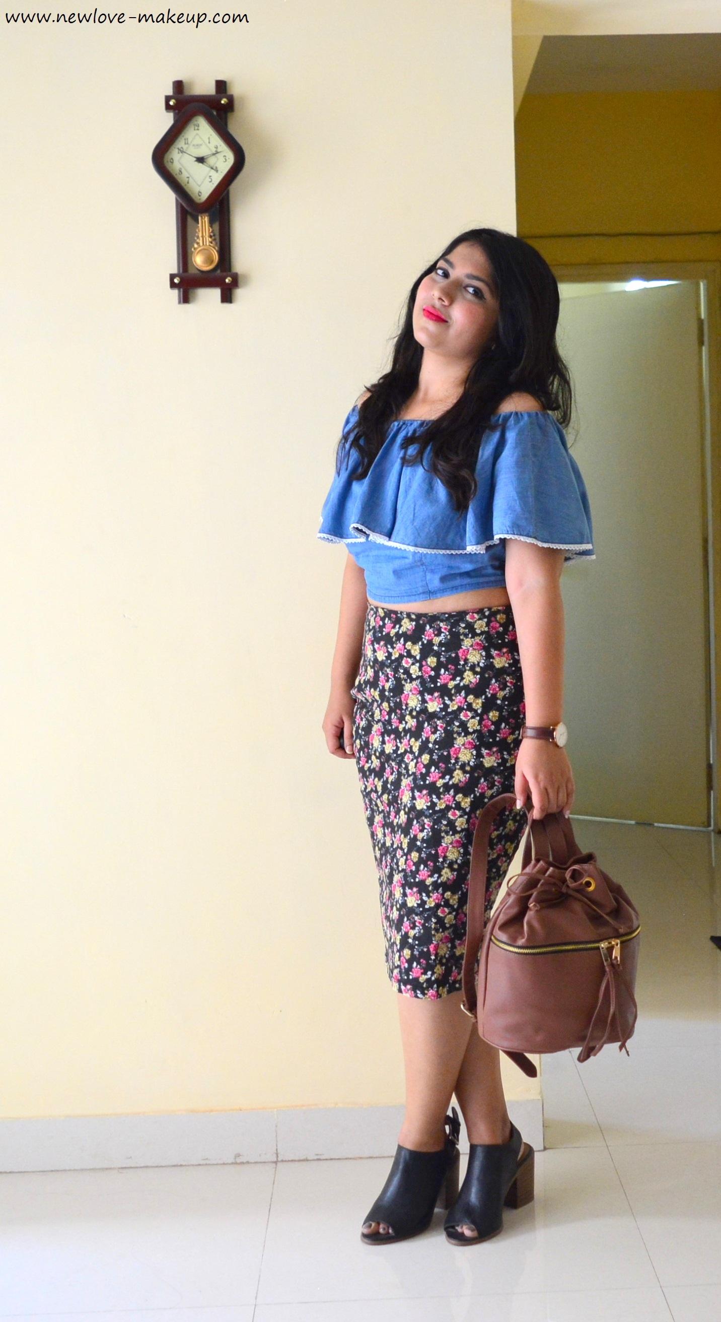 OOTD Denim Blue Off Shoulder Crop Top Floral Pencil Skirt | New Love - Makeup