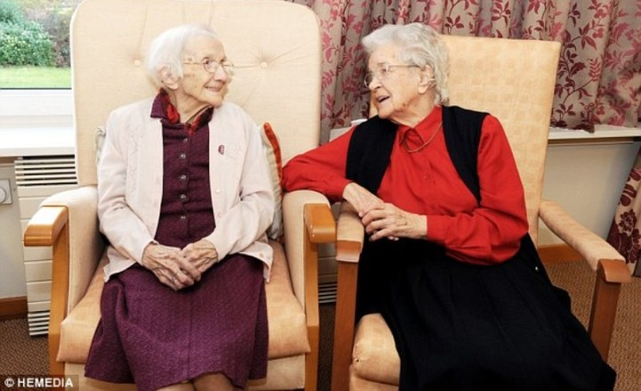 jessie gallan with one of her friends at the crosby house care home
