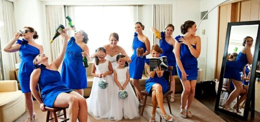 bridal party protect the flower girl