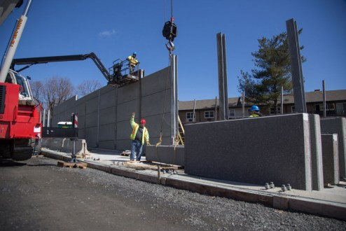 March 29, 2017 - Precast concrete panels are installed near the westbound landing in South Nyack to form the new, permanent noise barriers.