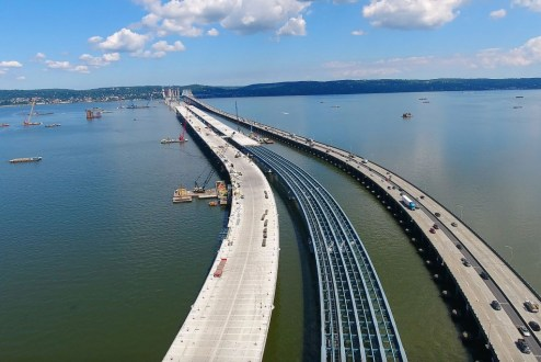 August 3, 2016 - The Rockland approach takes shape alongside the existing bridge.