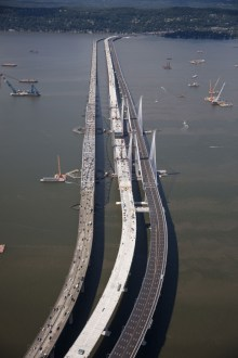 August 25, 2017 - The new bridge is prepared to carry four lanes of westbound traffic across the Hudson River.