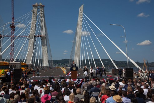 August 24, 2017 - Governor Andrew M. Cuomo greets the crowd at the bridge's opening ceremony.