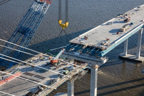 February 4, 2017 - Crews prepare to connect the cable-stayed main span to the westbound Westchester approach.