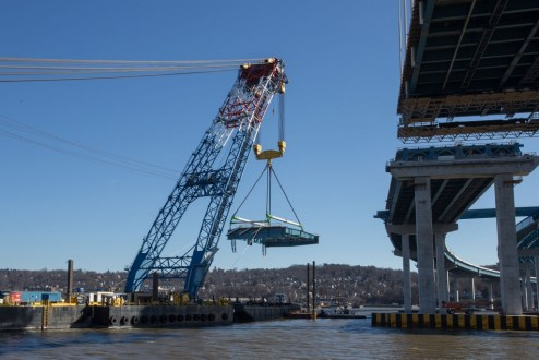 February 4, 2017 - A 750,000-pound section of structural steel is rigged to the project's super crane.