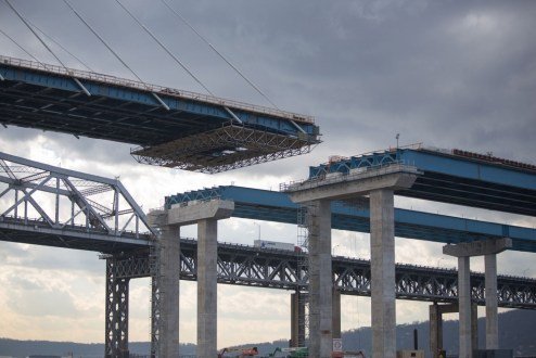 February 1, 2017 - The cable-stayed main span roadway will soon connect to the new approaches, which are supported by concrete piers.