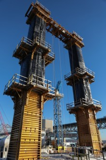 January 7, 2016 - A pair of pier columns, encased in formwork.