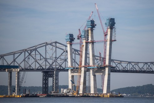 July 28, 2016 - The project's first set of stay cables, anchored to the iconic main span towers.