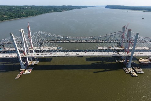 June 9, 2017 - The new twin span crossing takes shape.