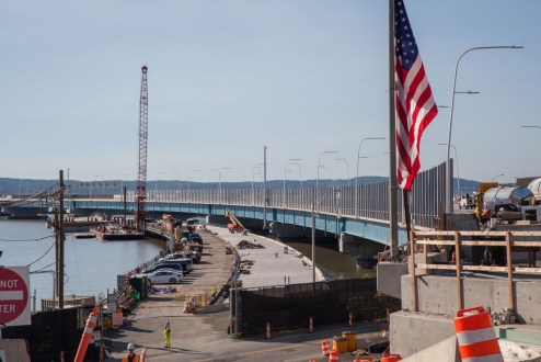 June 28, 2017 - Work continues on the Thruway Authority's permanent maintenance dock.