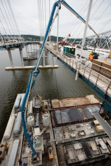 July 6, 2017 - A mobile batch plant provides concrete directly on the main span.