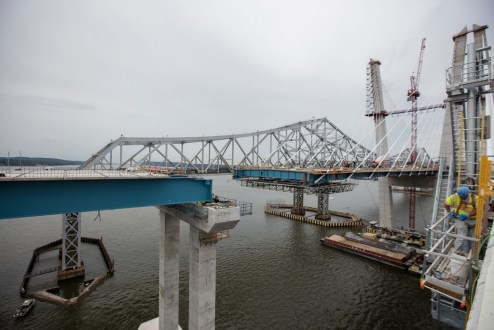 July 6, 2017 - The eastbound span will soon be connected to the Westchester approach.