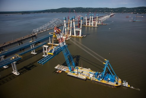 June 24, 2016 - I Lift NY raises an enormous assembly of steel girders.