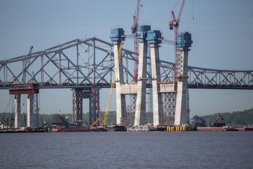 May 14, 2016 - The new main span towers continue to rise alongside the existing bridge.