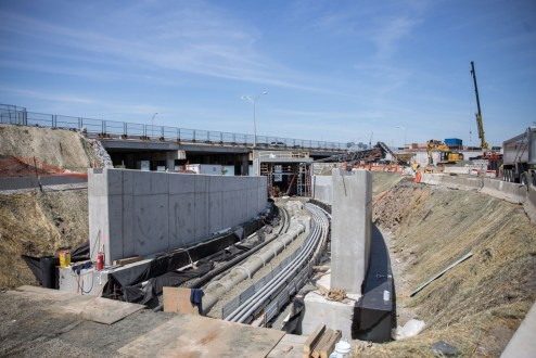 May 14, 2016 - Construction continues on an access tunnel at the Westchester landing.