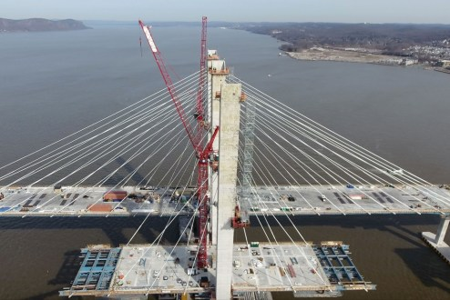 February 27, 2017 - The eastbound span's stay cable system will soon match the westbound's, supporting more than 2,200 feet of roadway.