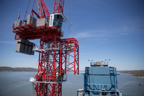 April 27, 2016 - The main span tower cranes are capable of rising to 490 feet above the Hudson River, making them the tallest machines on the project.